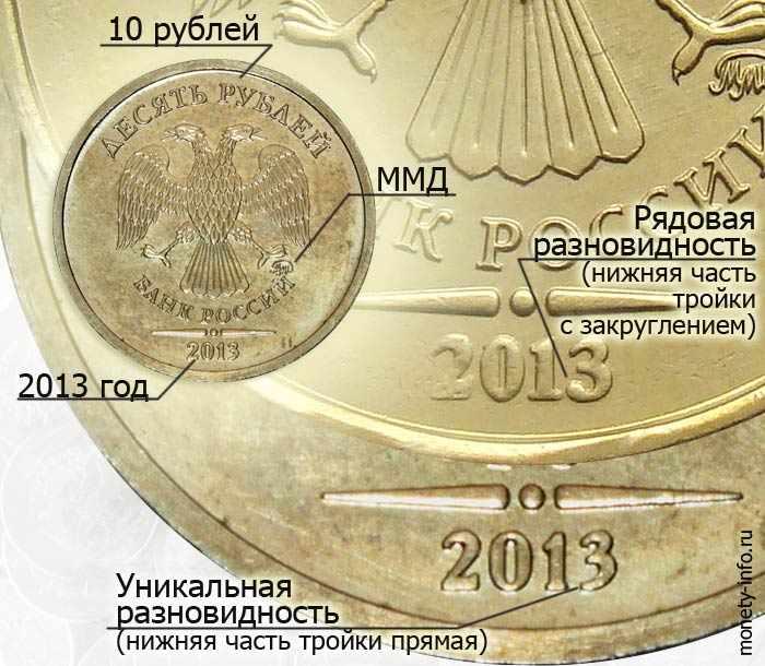 дорогая разновидность 10 рублей 2013 года, как отличить