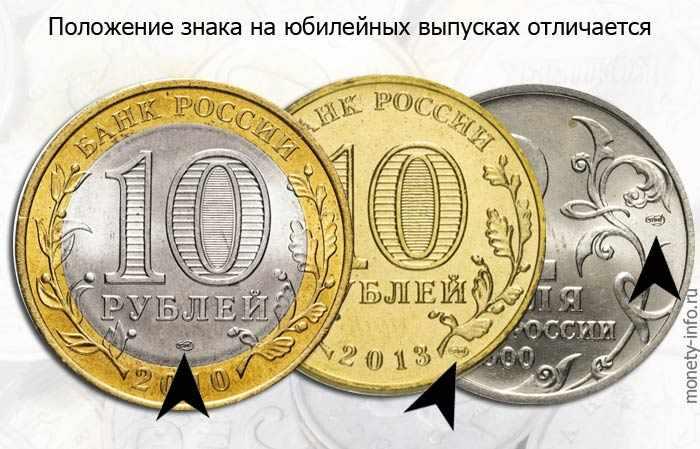 знаки ММД и СПМД на юбилейных деньгах России