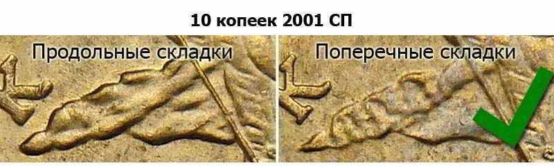 10 копеек 2001 с поперечными складками