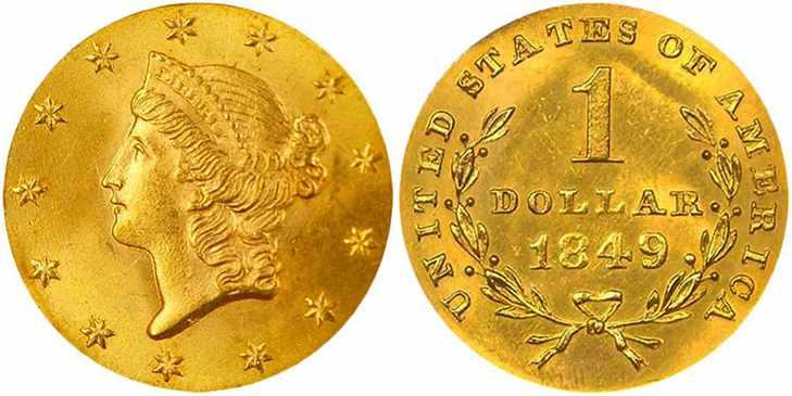 Золотой доллар 1849 года