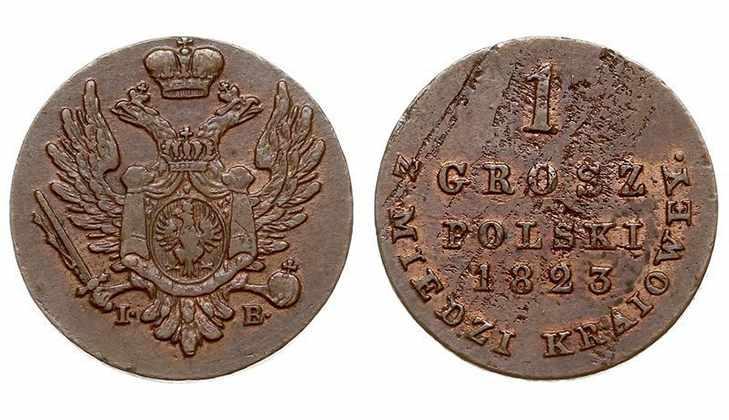 Монета польский грош 1823 года