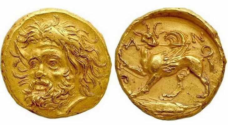 Золотая монета Пантикапея