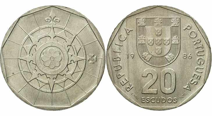 Португальские 20 эскудо 1986 года