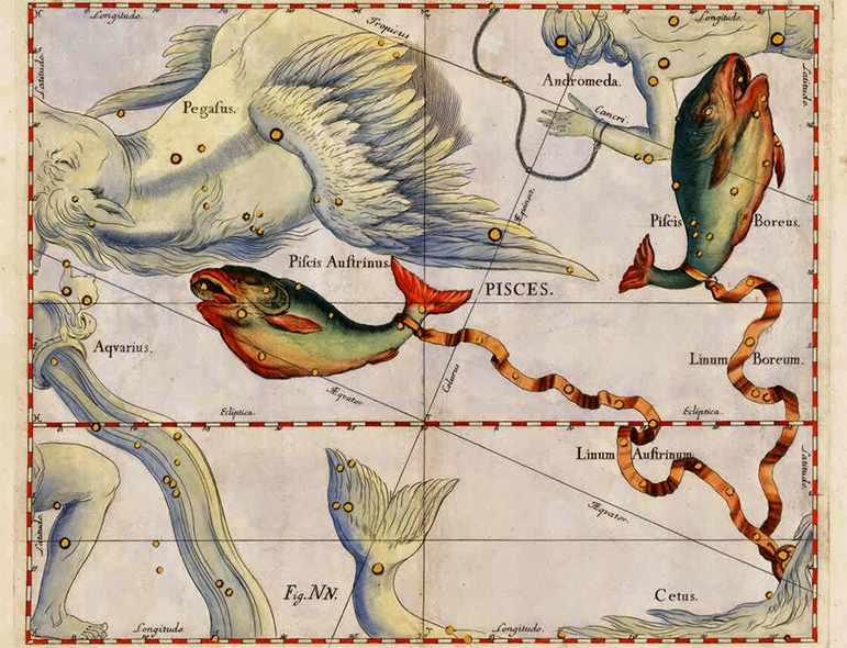 Созвездие Рыбы на старинных картах